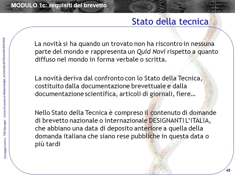 45 Giuseppe Conti © – TTO Manager - Corso di Laurea in Biotecnologie, Università del Piemonte Orientale La novità si ha quando un trovato non ha risco