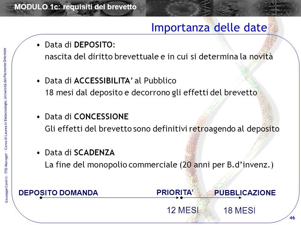 46 Giuseppe Conti © – TTO Manager - Corso di Laurea in Biotecnologie, Università del Piemonte Orientale Data di DEPOSITO: nascita del diritto brevettu