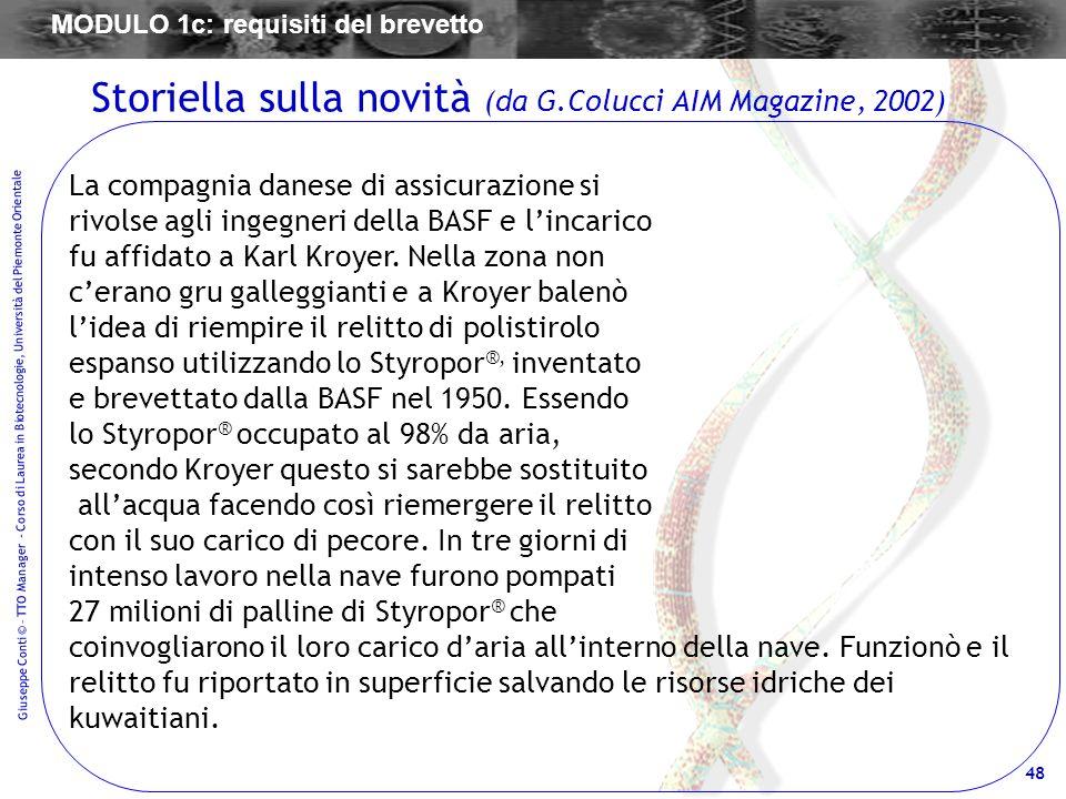 48 Giuseppe Conti © – TTO Manager - Corso di Laurea in Biotecnologie, Università del Piemonte Orientale La compagnia danese di assicurazione si rivols