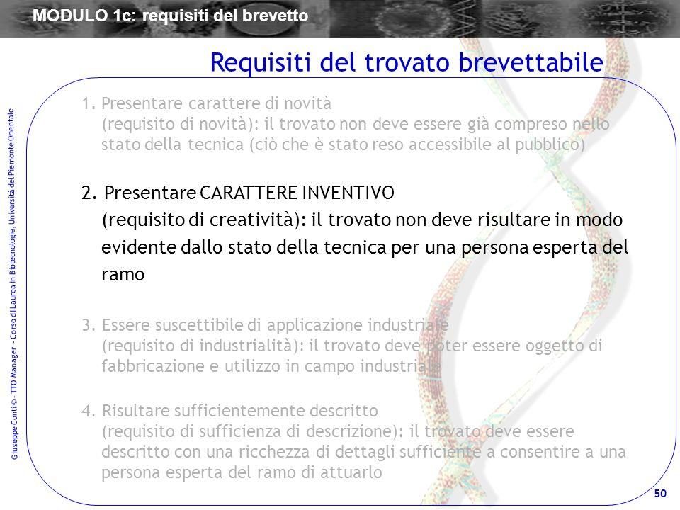 50 Giuseppe Conti © – TTO Manager - Corso di Laurea in Biotecnologie, Università del Piemonte Orientale 1.Presentare carattere di novità (requisito di