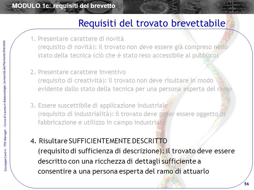 56 Giuseppe Conti © – TTO Manager - Corso di Laurea in Biotecnologie, Università del Piemonte Orientale 1.Presentare carattere di novità (requisito di