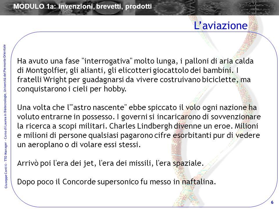 6 Giuseppe Conti © – TTO Manager - Corso di Laurea in Biotecnologie, Università del Piemonte Orientale Ha avuto una fase