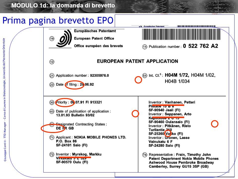 60 Giuseppe Conti © – TTO Manager - Corso di Laurea in Biotecnologie, Università del Piemonte Orientale Prima pagina brevetto EPO MODULO 1d: la domand