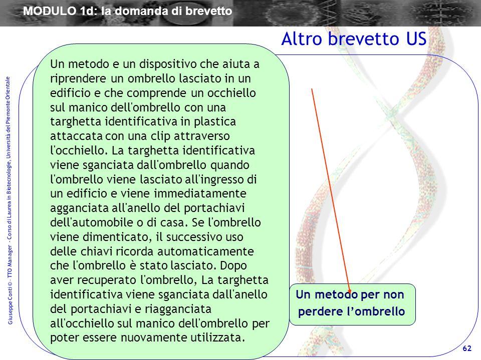 62 Giuseppe Conti © – TTO Manager - Corso di Laurea in Biotecnologie, Università del Piemonte Orientale Un metodo per non perdere lombrello Altro brev