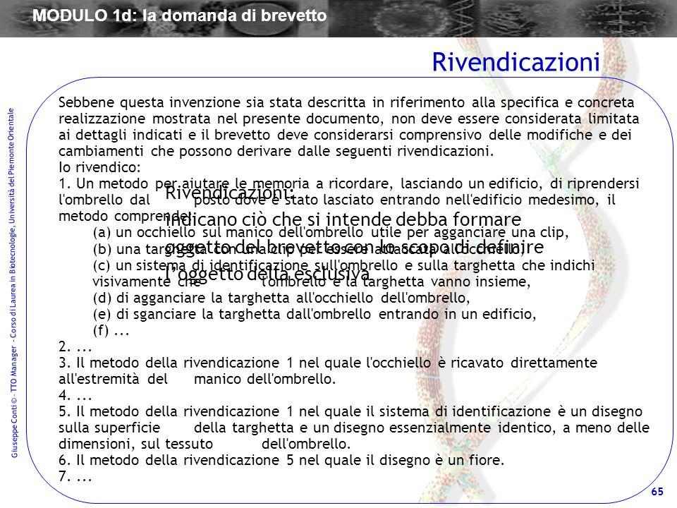 65 Giuseppe Conti © – TTO Manager - Corso di Laurea in Biotecnologie, Università del Piemonte Orientale Rivendicazioni: indicano ciò che si intende de