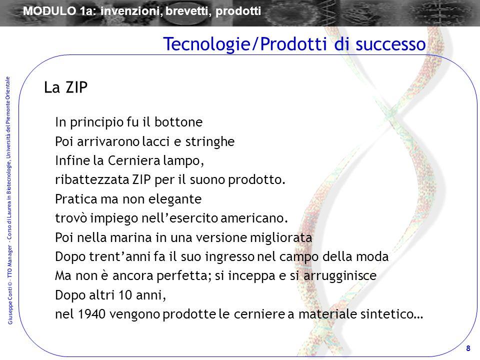 8 Giuseppe Conti © – TTO Manager - Corso di Laurea in Biotecnologie, Università del Piemonte Orientale La ZIP In principio fu il bottone Poi arrivaron