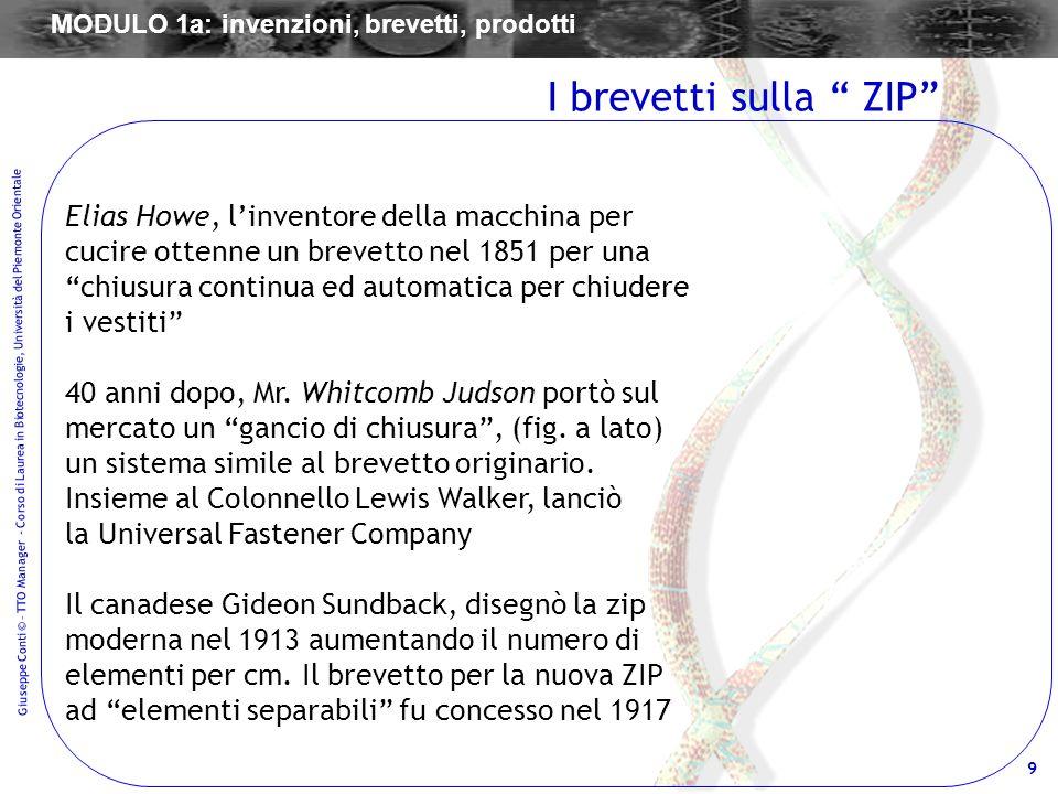 9 Giuseppe Conti © – TTO Manager - Corso di Laurea in Biotecnologie, Università del Piemonte Orientale Elias Howe, linventore della macchina per cucir