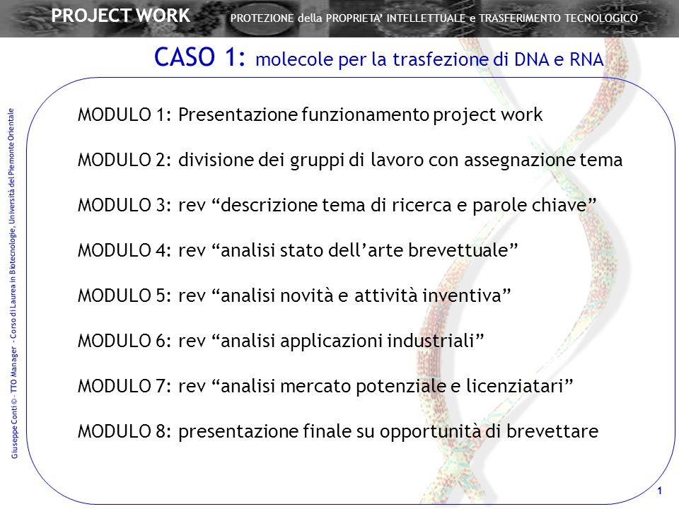 Giuseppe Conti © – TTO Manager - Corso di Laurea in Biotecnologie, Università del Piemonte Orientale 1 PROJECT WORK PROTEZIONE della PROPRIETA INTELLE