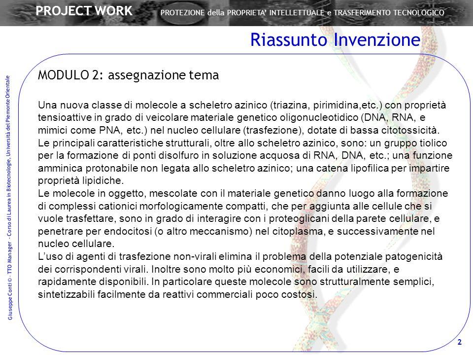 Giuseppe Conti © – TTO Manager - Corso di Laurea in Biotecnologie, Università del Piemonte Orientale 2 PROJECT WORK PROTEZIONE della PROPRIETA INTELLE