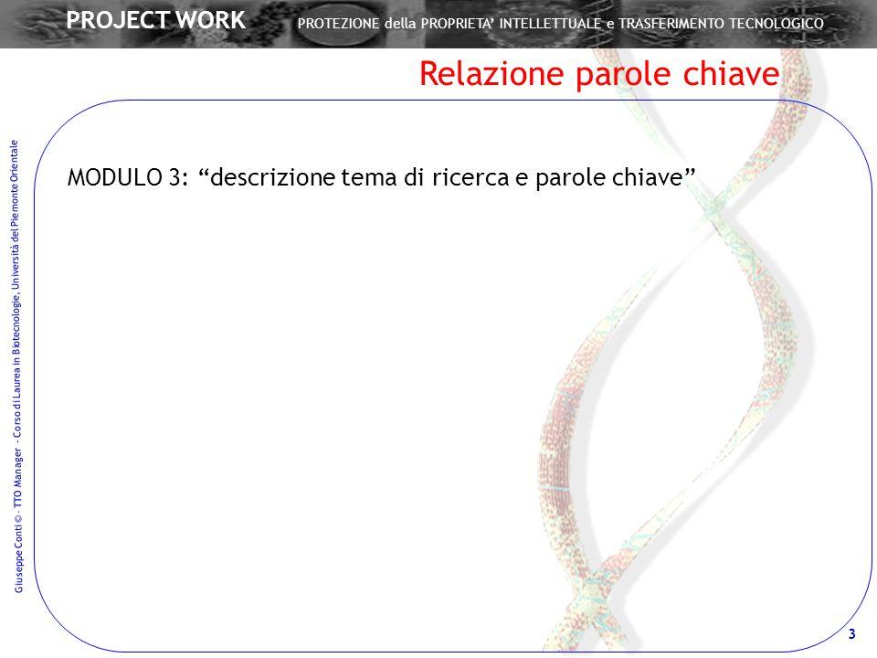 Giuseppe Conti © – TTO Manager - Corso di Laurea in Biotecnologie, Università del Piemonte Orientale 3 PROJECT WORK PROTEZIONE della PROPRIETA INTELLE