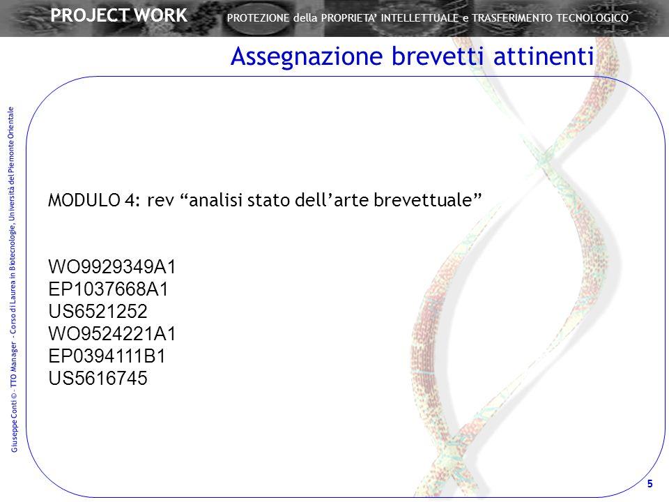 Giuseppe Conti © – TTO Manager - Corso di Laurea in Biotecnologie, Università del Piemonte Orientale 5 PROJECT WORK PROTEZIONE della PROPRIETA INTELLE