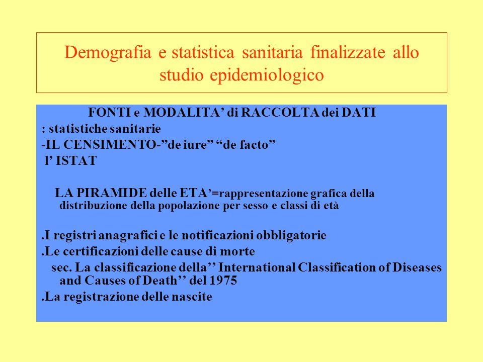 Demografia e statistica sanitaria finalizzate allo studio epidemiologico FONTI e MODALITA di RACCOLTA dei DATI : statistiche sanitarie -IL CENSIMENTO-