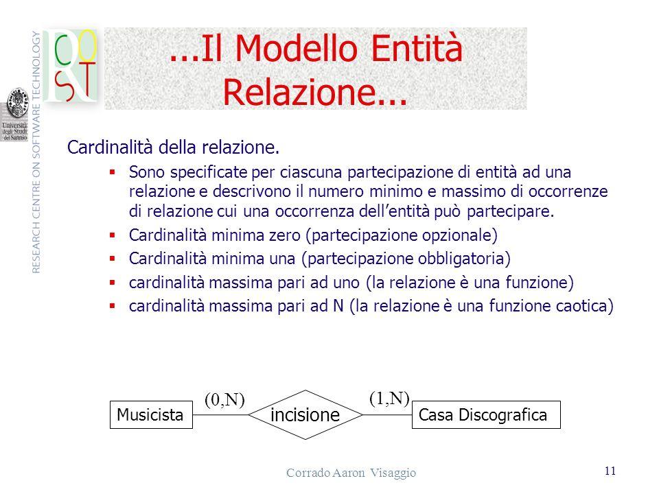 Corrado Aaron Visaggio 11...Il Modello Entità Relazione... Cardinalità della relazione. Sono specificate per ciascuna partecipazione di entità ad una