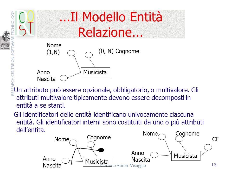 Corrado Aaron Visaggio 12...Il Modello Entità Relazione... Un attributo può essere opzionale, obbligatorio, o multivalore. Gli attributi multivalore t