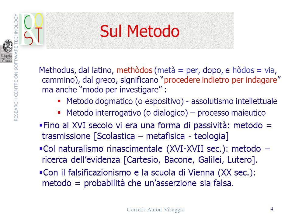 Corrado Aaron Visaggio 4 Sul Metodo Methodus, dal latino, methòdos (metà = per, dopo, e hòdos = via, cammino), dal greco, significano procedere indiet