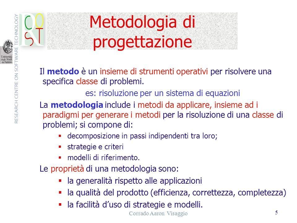 Corrado Aaron Visaggio 5 Metodologia di progettazione Il metodo è un insieme di strumenti operativi per risolvere una specifica classe di problemi. es