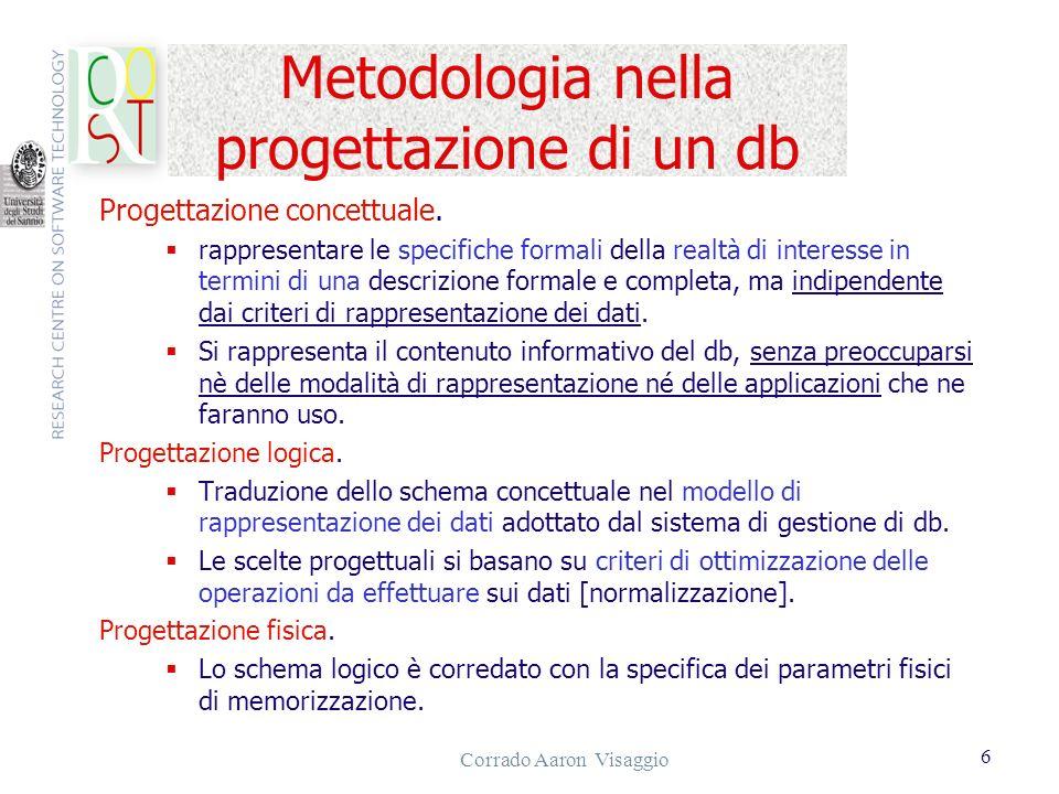 Corrado Aaron Visaggio 6 Metodologia nella progettazione di un db Progettazione concettuale. rappresentare le specifiche formali della realtà di inter