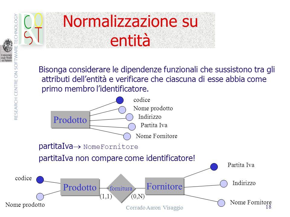 Corrado Aaron Visaggio 18 Normalizzazione su entità Bisonga considerare le dipendenze funzionali che sussistono tra gli attributi dellentità e verific