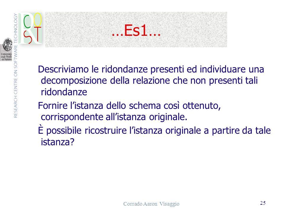 Corrado Aaron Visaggio 25 …Es1… Descriviamo le ridondanze presenti ed individuare una decomposizione della relazione che non presenti tali ridondanze