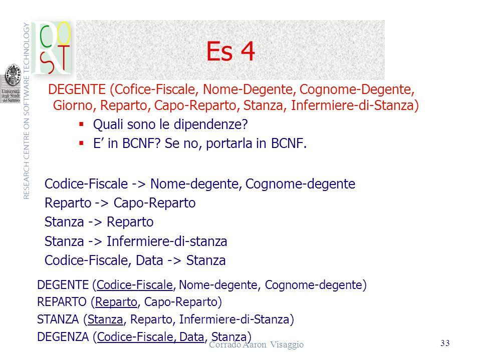Corrado Aaron Visaggio 33 Es 4 DEGENTE (Cofice-Fiscale, Nome-Degente, Cognome-Degente, Giorno, Reparto, Capo-Reparto, Stanza, Infermiere-di-Stanza) Qu