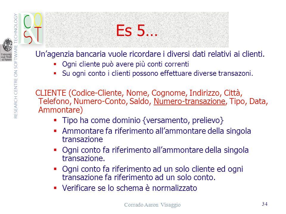 Corrado Aaron Visaggio 34 Es 5… Unagenzia bancaria vuole ricordare i diversi dati relativi ai clienti. Ogni cliente può avere più conti correnti Su og