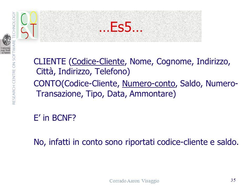 Corrado Aaron Visaggio 35 …Es5… CLIENTE (Codice-Cliente, Nome, Cognome, Indirizzo, Città, Indirizzo, Telefono) CONTO(Codice-Cliente, Numero-conto, Sal