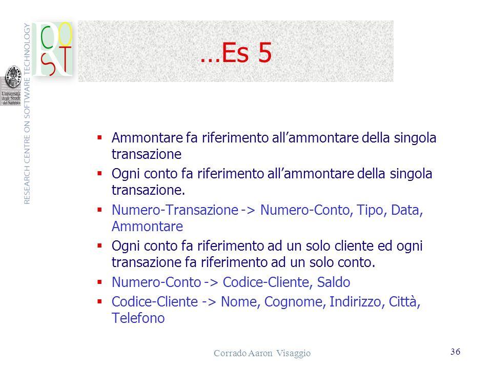 Corrado Aaron Visaggio 36 …Es 5 Ammontare fa riferimento allammontare della singola transazione Ogni conto fa riferimento allammontare della singola t
