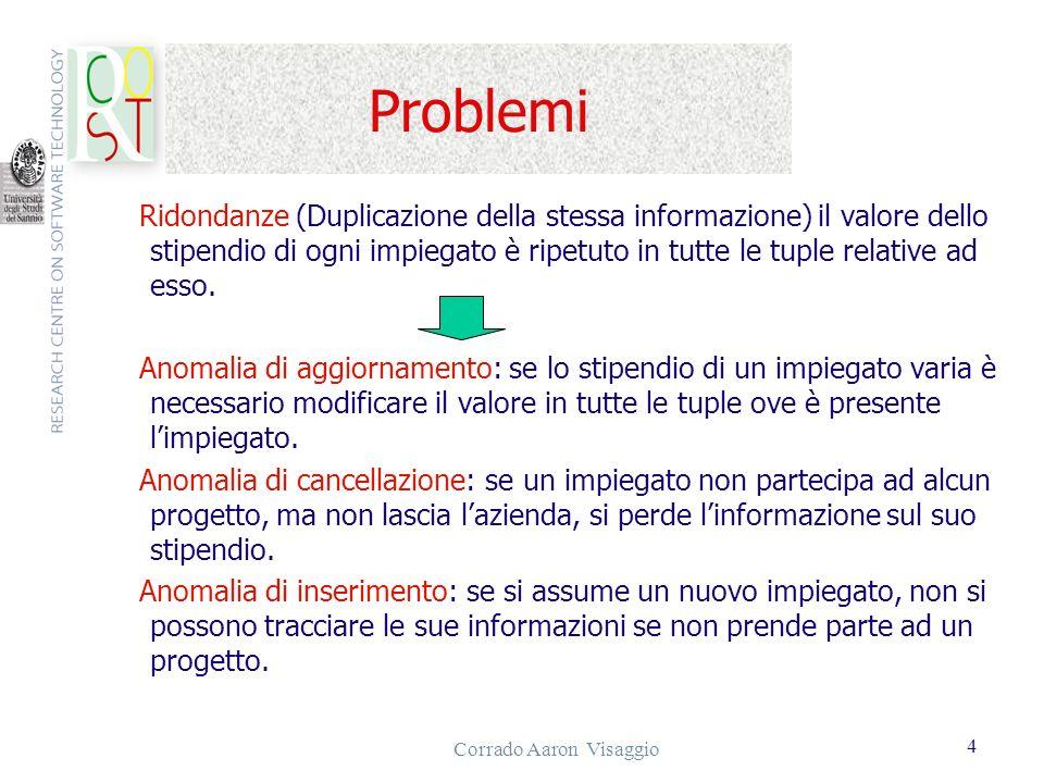 Corrado Aaron Visaggio 4 Problemi Ridondanze (Duplicazione della stessa informazione) il valore dello stipendio di ogni impiegato è ripetuto in tutte