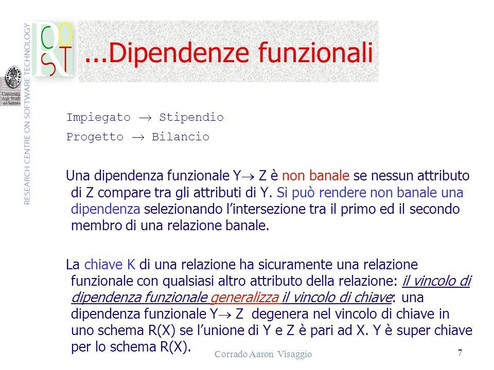 Corrado Aaron Visaggio 7...Dipendenze funzionali Impiegato Stipendio Progetto Bilancio Una dipendenza funzionale Y Z è non banale se nessun attributo
