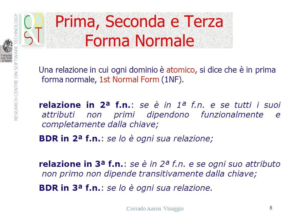 Corrado Aaron Visaggio 8 Prima, Seconda e Terza Forma Normale Una relazione in cui ogni dominio è atomico, si dice che è in prima forma normale, 1st N