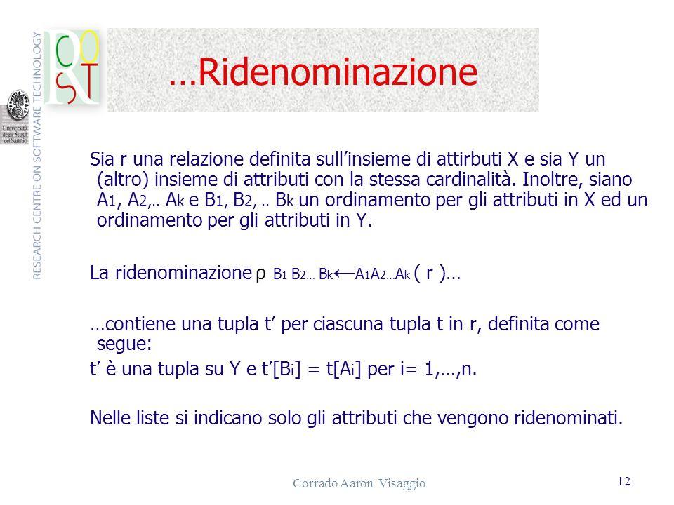 Corrado Aaron Visaggio 12 …Ridenominazione Sia r una relazione definita sullinsieme di attirbuti X e sia Y un (altro) insieme di attributi con la stes