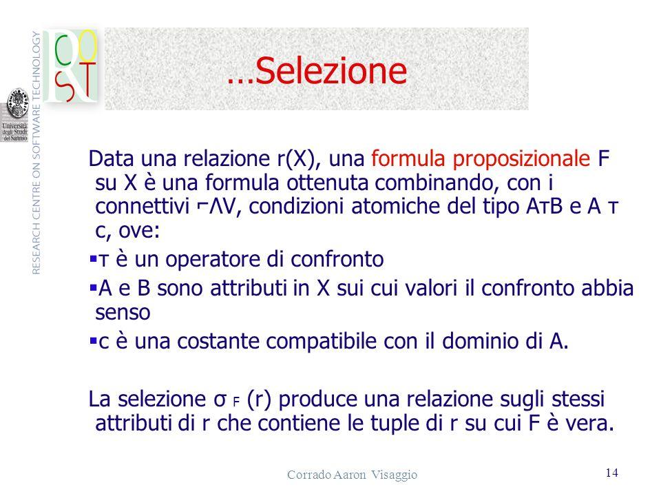 Corrado Aaron Visaggio 14 …Selezione Data una relazione r(X), una formula proposizionale F su X è una formula ottenuta combinando, con i connettivi ΛV