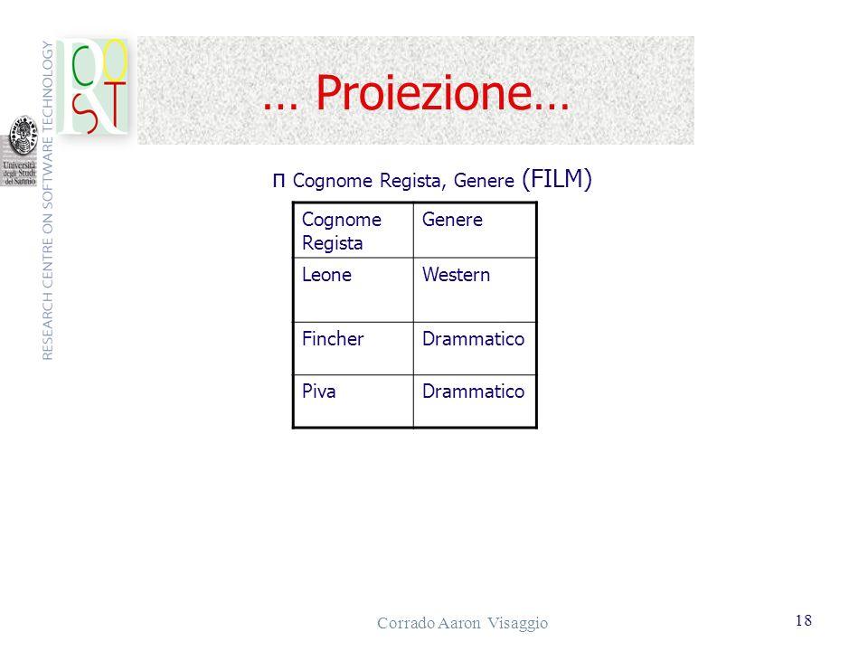 Corrado Aaron Visaggio 18 … Proiezione… Cognome Regista Genere LeoneWestern FincherDrammatico PivaDrammatico π Cognome Regista, Genere (FILM)