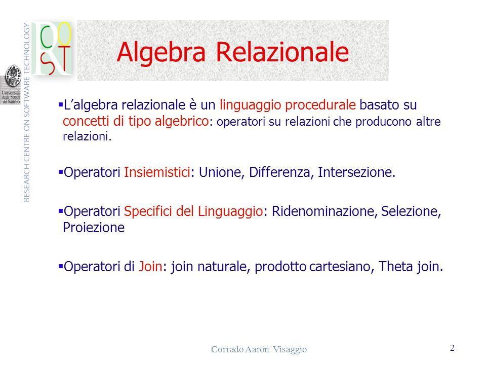 Corrado Aaron Visaggio 2 Algebra Relazionale Lalgebra relazionale è un linguaggio procedurale basato su concetti di tipo algebrico : operatori su rela