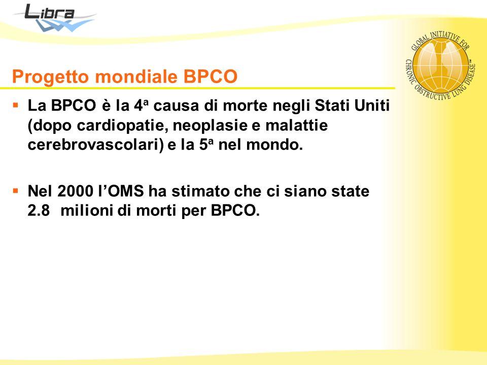 Progetto mondiale BPCO La BPCO è la 4 a causa di morte negli Stati Uniti (dopo cardiopatie, neoplasie e malattie cerebrovascolari) e la 5 a nel mondo.