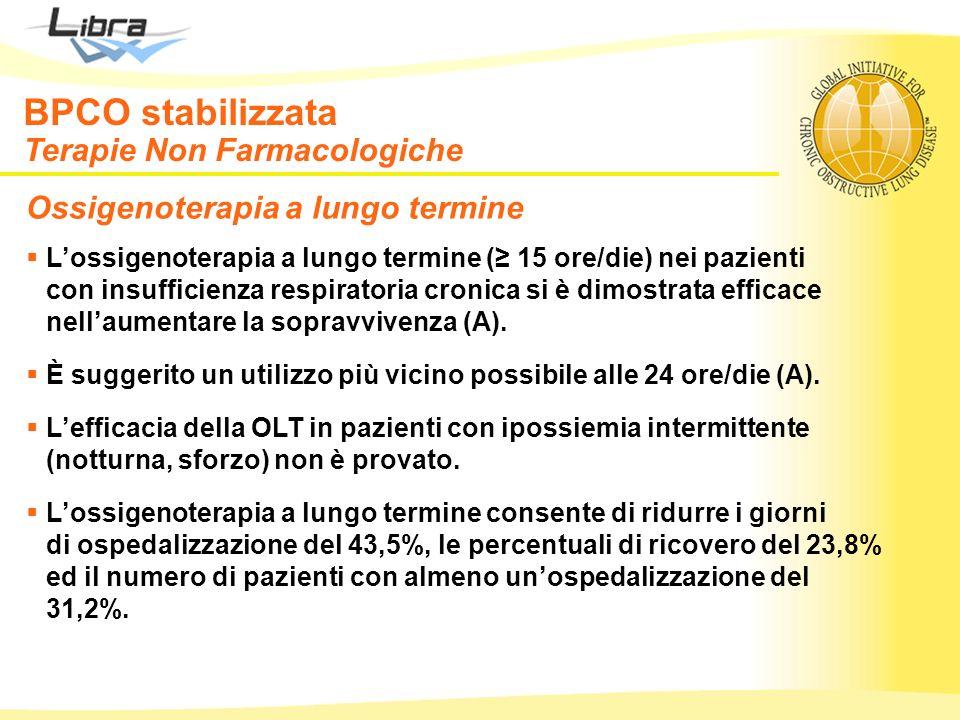 Ossigenoterapia a lungo termine Lossigenoterapia a lungo termine ( 15 ore/die) nei pazienti con insufficienza respiratoria cronica si è dimostrata eff