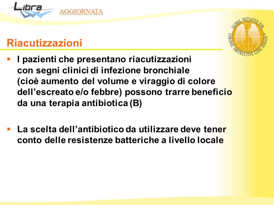 I pazienti che presentano riacutizzazioni con segni clinici di infezione bronchiale (cioè aumento del volume e viraggio di colore dellescreato e/o feb