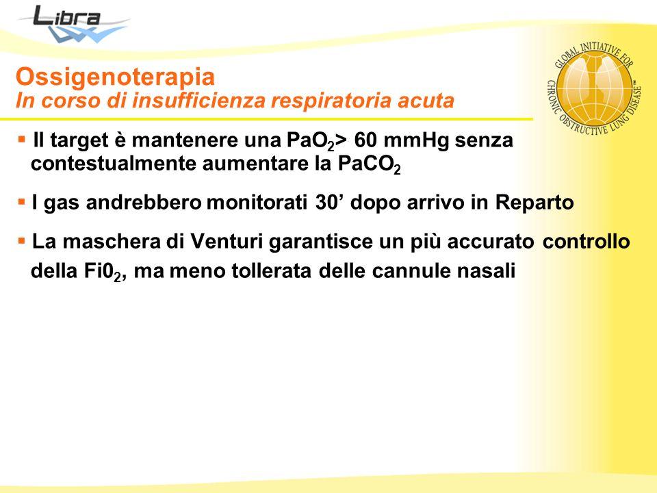 Ossigenoterapia In corso di insufficienza respiratoria acuta Il target è mantenere una PaO 2 > 60 mmHg senza contestualmente aumentare la PaCO 2 I gas