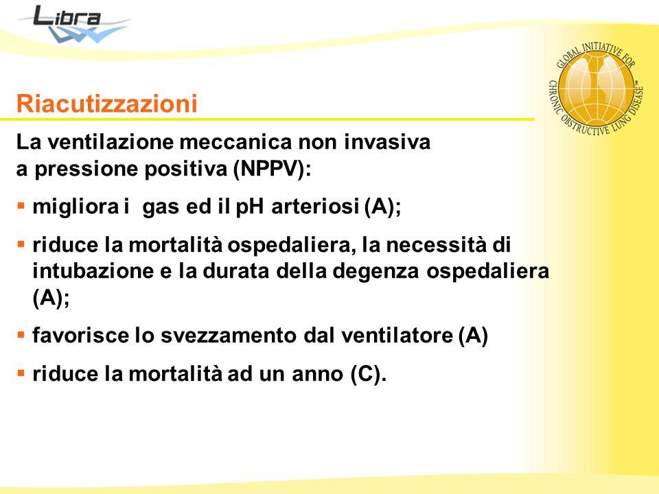 La ventilazione meccanica non invasiva a pressione positiva (NPPV): migliora i gas ed il pH arteriosi (A); riduce la mortalità ospedaliera, la necessi
