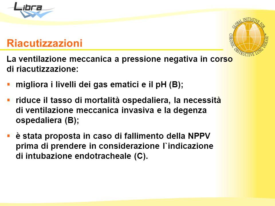 La ventilazione meccanica a pressione negativa in corso di riacutizzazione: migliora i livelli dei gas ematici e il pH (B); riduce il tasso di mortali