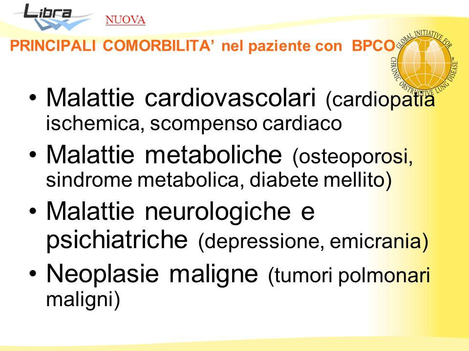 PRINCIPALI COMORBILITA nel paziente con BPCO Malattie cardiovascolari (cardiopatia ischemica, scompenso cardiaco Malattie metaboliche (osteoporosi, si