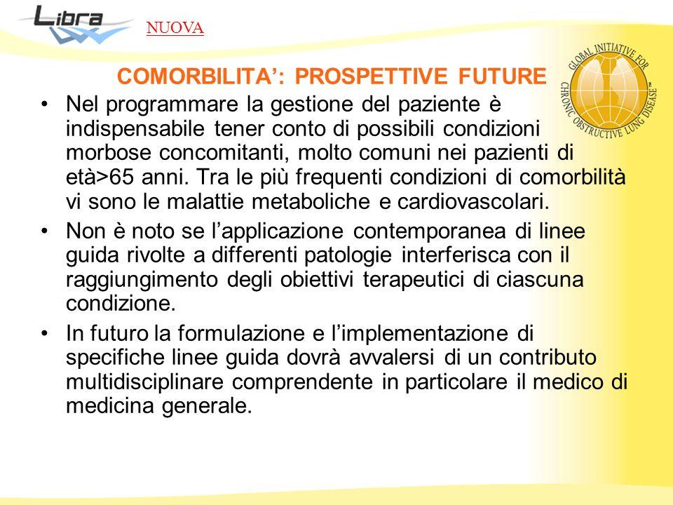 COMORBILITA: PROSPETTIVE FUTURE Nel programmare la gestione del paziente è indispensabile tener conto di possibili condizioni morbose concomitanti, mo