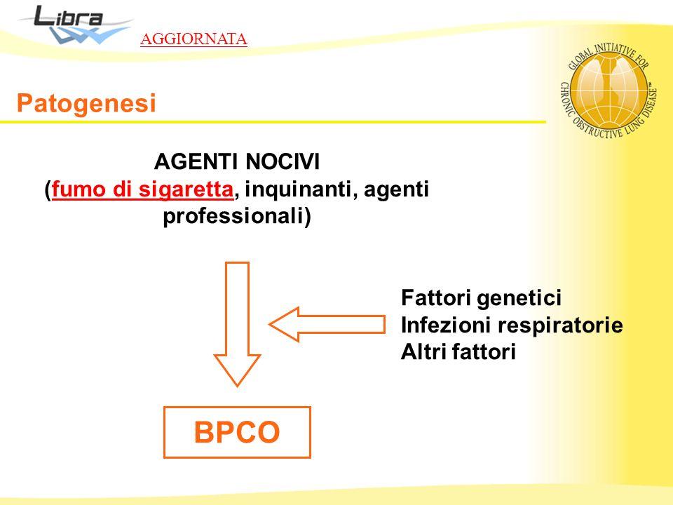 AGENTI NOCIVI (fumo di sigaretta, inquinanti, agenti professionali) BPCO Fattori genetici Infezioni respiratorie Altri fattori Patogenesi AGGIORNATA
