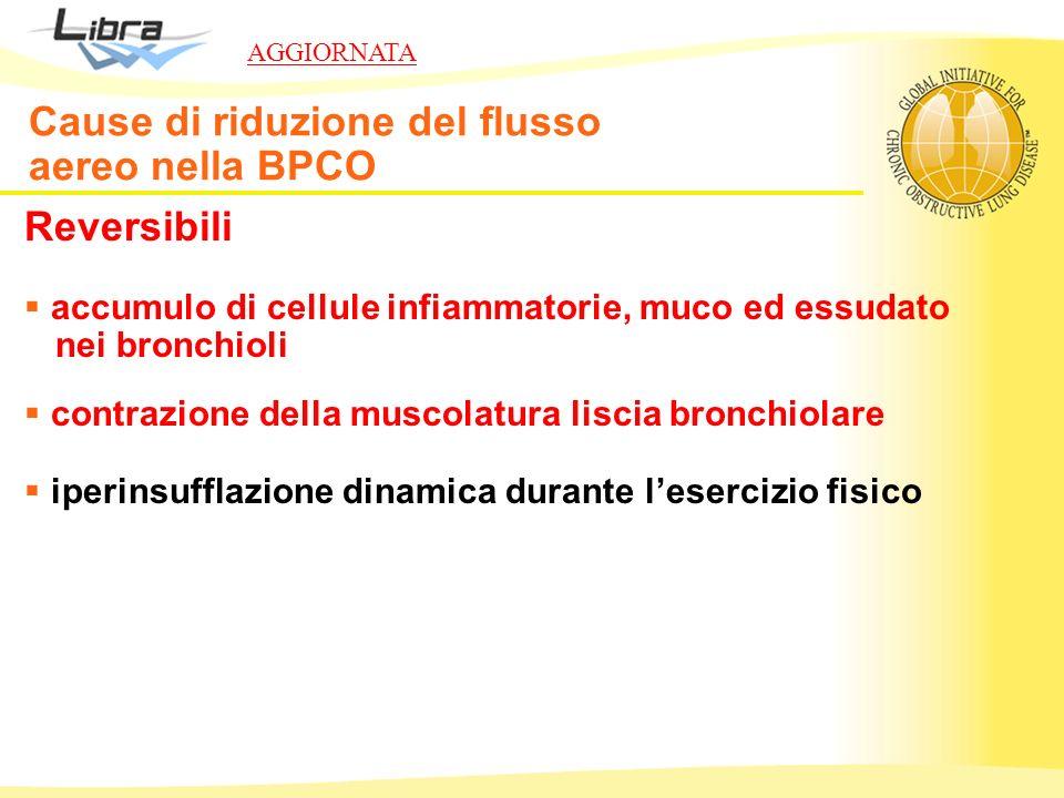 Reversibili accumulo di cellule infiammatorie, muco ed essudato nei bronchioli contrazione della muscolatura liscia bronchiolare iperinsufflazione din