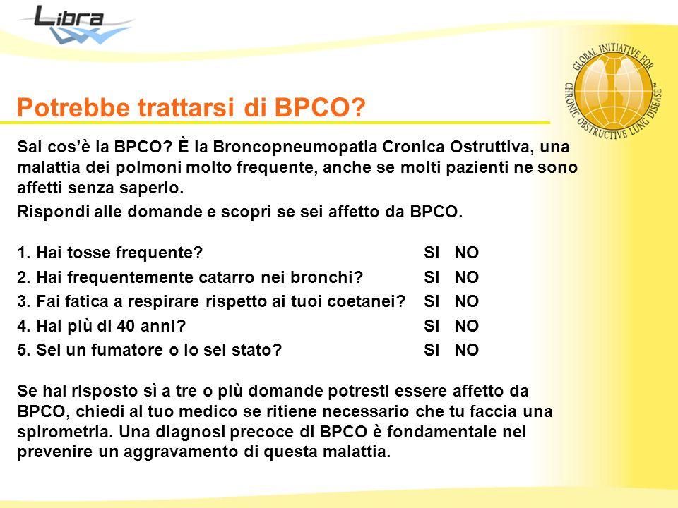 Potrebbe trattarsi di BPCO? Sai cosè la BPCO? È la Broncopneumopatia Cronica Ostruttiva, una malattia dei polmoni molto frequente, anche se molti pazi
