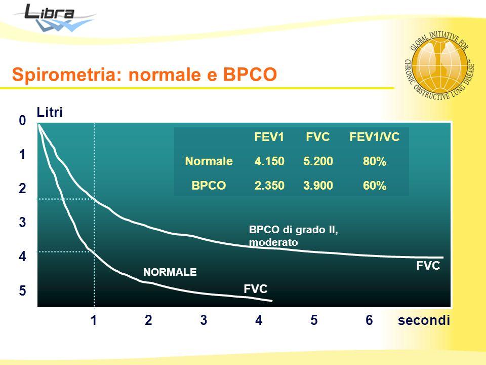 5 0 1 2 3 4 123456 FVC BPCO di grado II, moderato NORMALE secondi Litri FEV1FVCFEV1/VC Normale4.1505.20080% BPCO2.3503.90060% Spirometria: normale e B