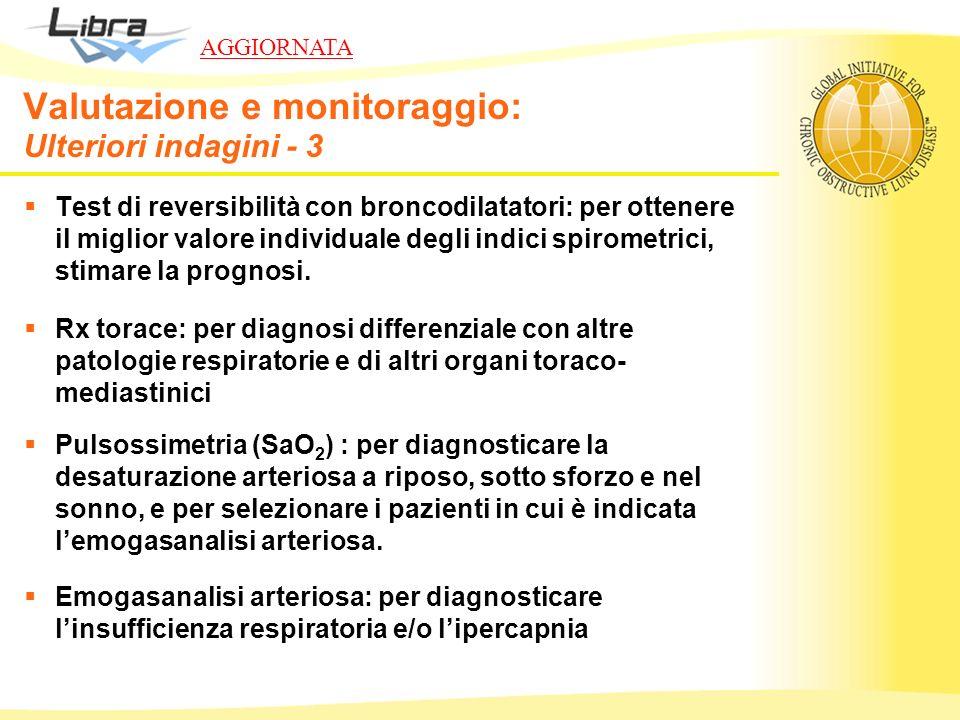 Valutazione e monitoraggio: Ulteriori indagini - 3 Test di reversibilità con broncodilatatori: per ottenere il miglior valore individuale degli indici