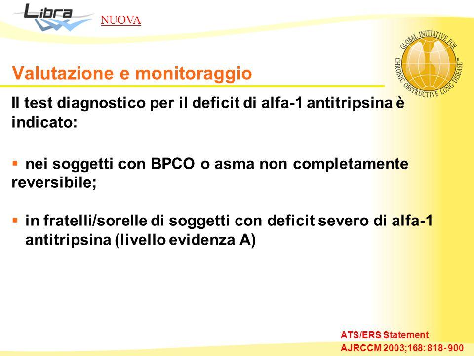 Il test diagnostico per il deficit di alfa-1 antitripsina è indicato: nei soggetti con BPCO o asma non completamente reversibile; in fratelli/sorelle