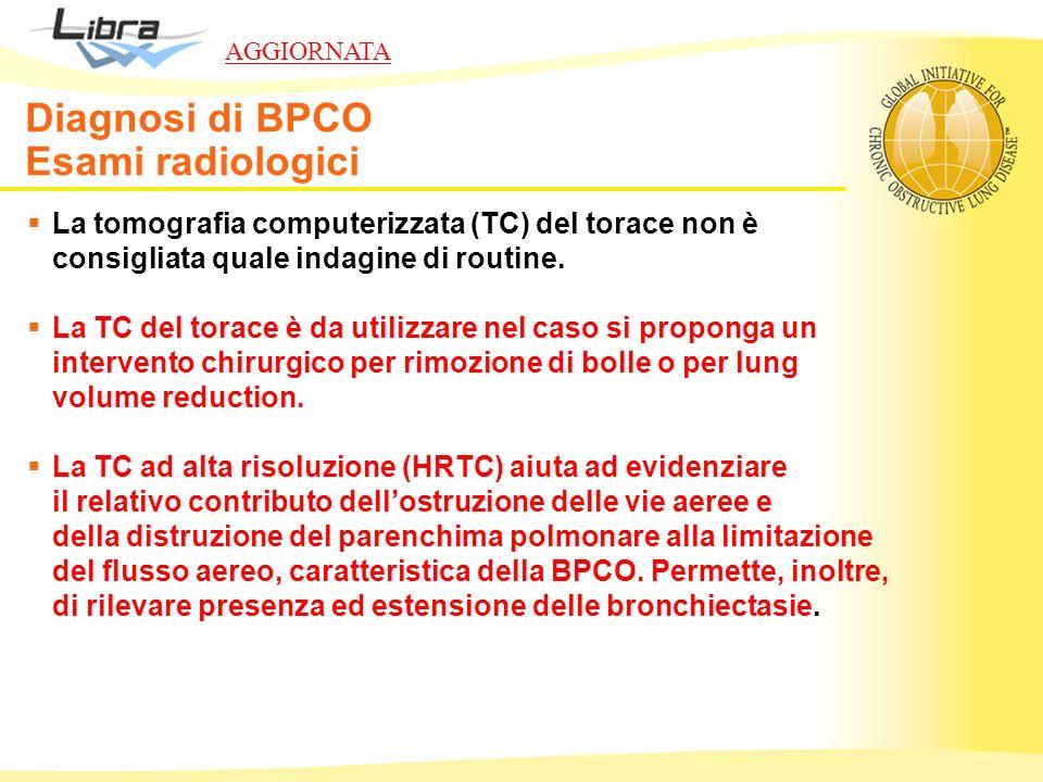 La tomografia computerizzata (TC) del torace non è consigliata quale indagine di routine. La TC del torace è da utilizzare nel caso si proponga un int