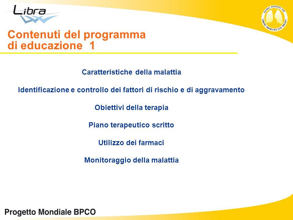 Contenuti del programma di educazione 1 Caratteristiche della malattia Identificazione e controllo dei fattori di rischio e di aggravamento Obiettivi
